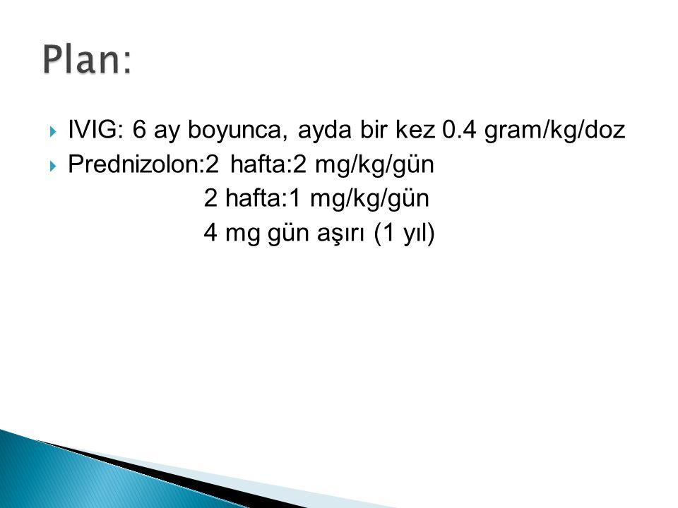  IVIG: 6 ay boyunca, ayda bir kez 0.4 gram/kg/doz  Prednizolon:2 hafta:2 mg/kg/gün 2 hafta:1 mg/kg/gün 4 mg gün aşırı (1 yıl)