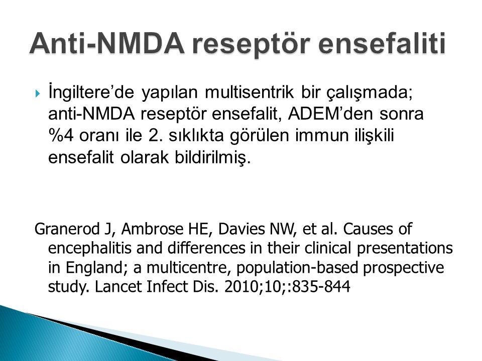  İngiltere'de yapılan multisentrik bir çalışmada; anti-NMDA reseptör ensefalit, ADEM'den sonra %4 oranı ile 2. sıklıkta görülen immun ilişkili ensefa