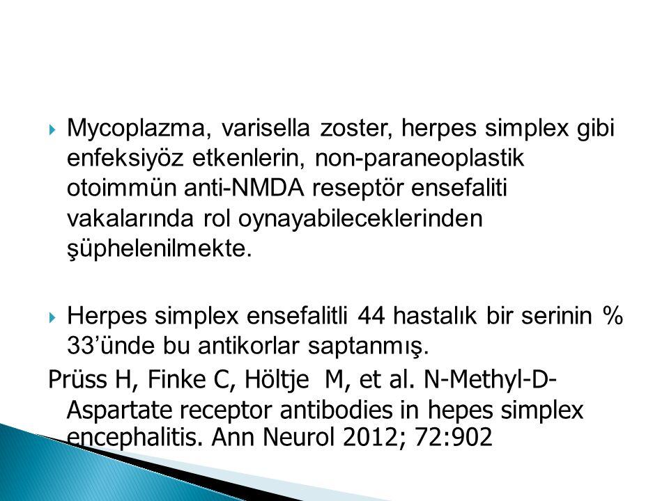  Mycoplazma, varisella zoster, herpes simplex gibi enfeksiyöz etkenlerin, non-paraneoplastik otoimmün anti-NMDA reseptör ensefaliti vakalarında rol o