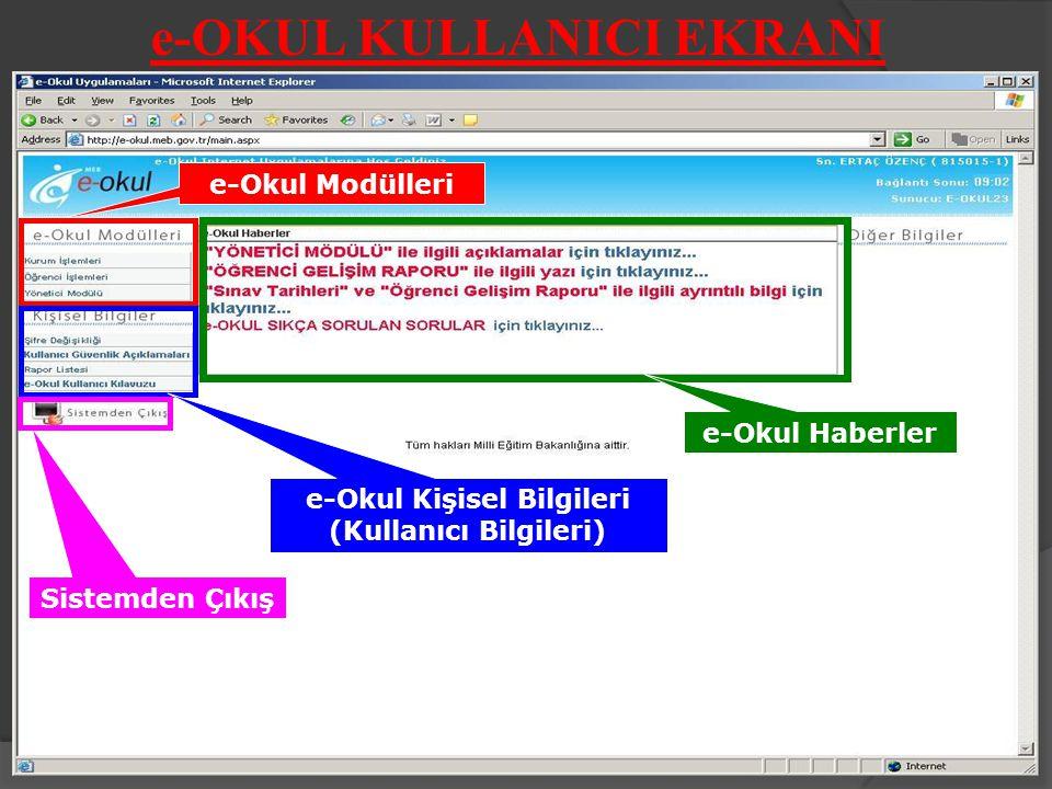 e-OKUL KULLANICI EKRANI e-Okul Modülleri e-Okul Kişisel Bilgileri (Kullanıcı Bilgileri) Sistemden Çıkış e-Okul Haberler