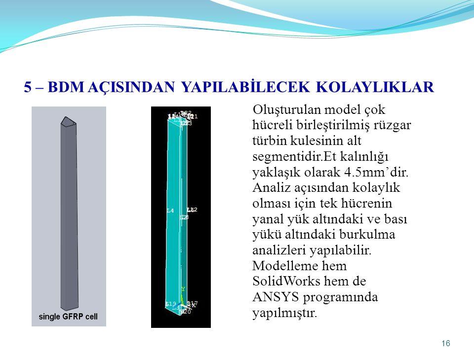 16 5 – BDM AÇISINDAN YAPILABİLECEK KOLAYLIKLAR Oluşturulan model çok hücreli birleştirilmiş rüzgar türbin kulesinin alt segmentidir.Et kalınlığı yakla