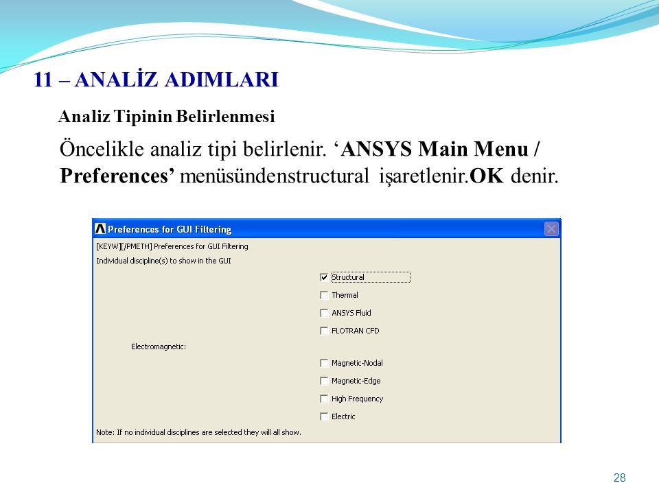 28 11 – ANALİZ ADIMLARI Analiz Tipinin Belirlenmesi Öncelikle analiz tipi belirlenir. 'ANSYS Main Menu / Preferences' menüsündenstructural işaretlenir