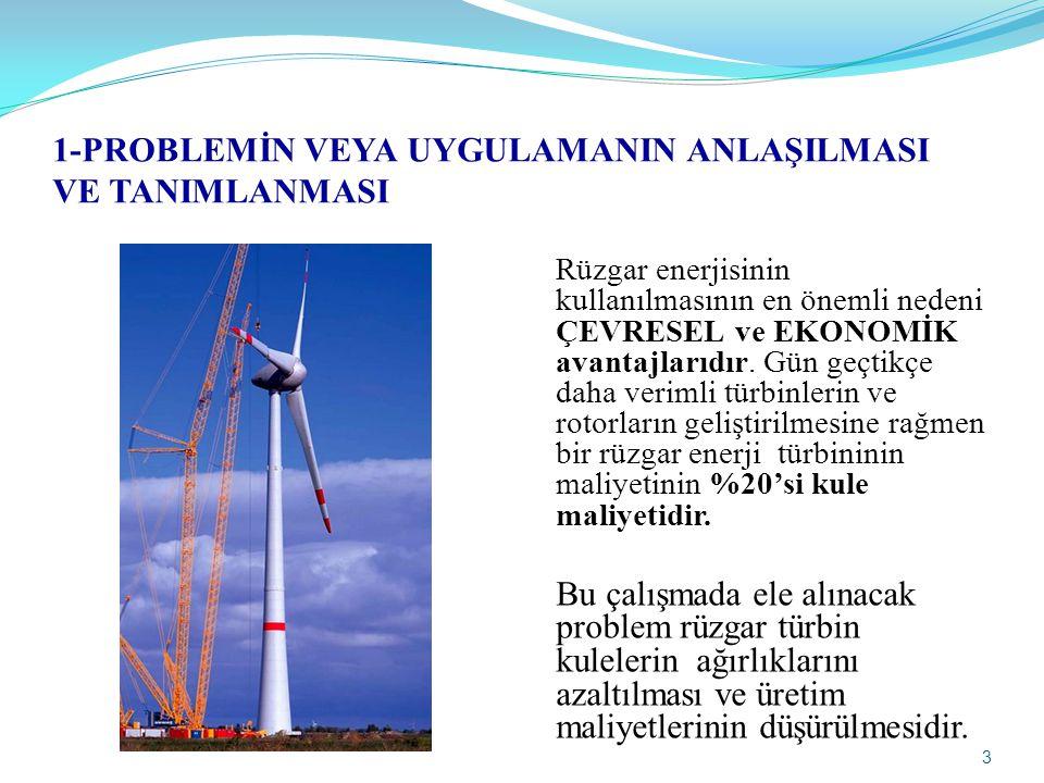 3 1-PROBLEMİN VEYA UYGULAMANIN ANLAŞILMASI VE TANIMLANMASI Rüzgar enerjisinin kullanılmasının en önemli nedeni ÇEVRESEL ve EKONOMİK avantajlarıdır. Gü