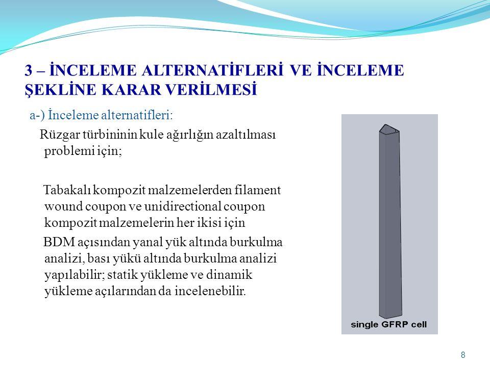 8 3 – İNCELEME ALTERNATİFLERİ VE İNCELEME ŞEKLİNE KARAR VERİLMESİ a-) İnceleme alternatifleri: Rüzgar türbininin kule ağırlığın azaltılması problemi i