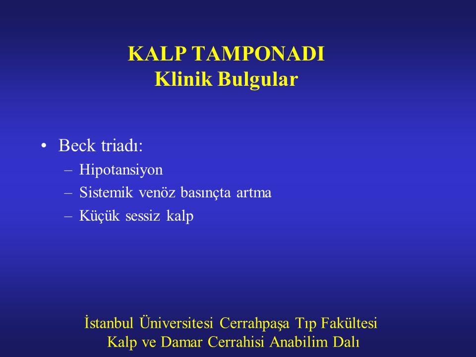 İstanbul Üniversitesi Cerrahpaşa Tıp Fakültesi Kalp ve Damar Cerrahisi Anabilim Dalı KALP TAMPONADI Klinik Bulgular Beck triadı: –Hipotansiyon –Sistem