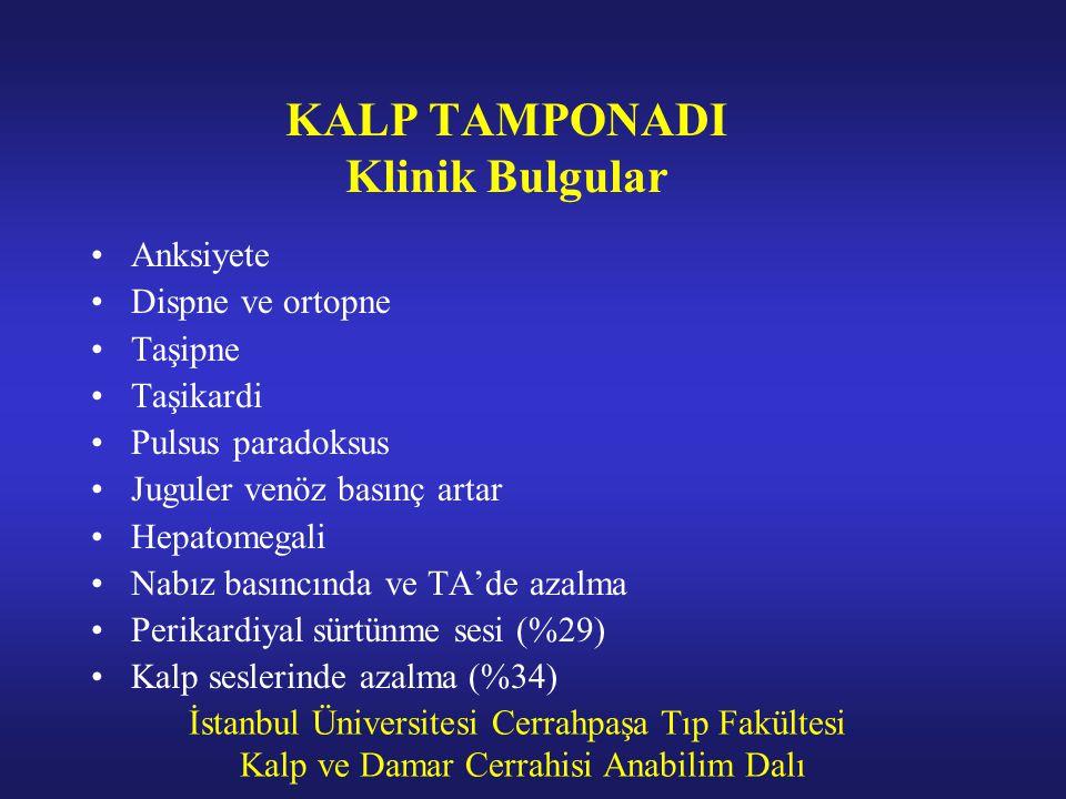 İstanbul Üniversitesi Cerrahpaşa Tıp Fakültesi Kalp ve Damar Cerrahisi Anabilim Dalı KALP TAMPONADI Klinik Bulgular Anksiyete Dispne ve ortopne Taşipn