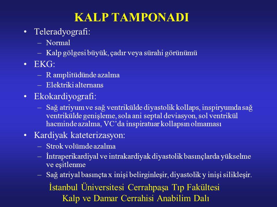 İstanbul Üniversitesi Cerrahpaşa Tıp Fakültesi Kalp ve Damar Cerrahisi Anabilim Dalı KALP TAMPONADI Teleradyografi: –Normal –Kalp gölgesi büyük, çadır