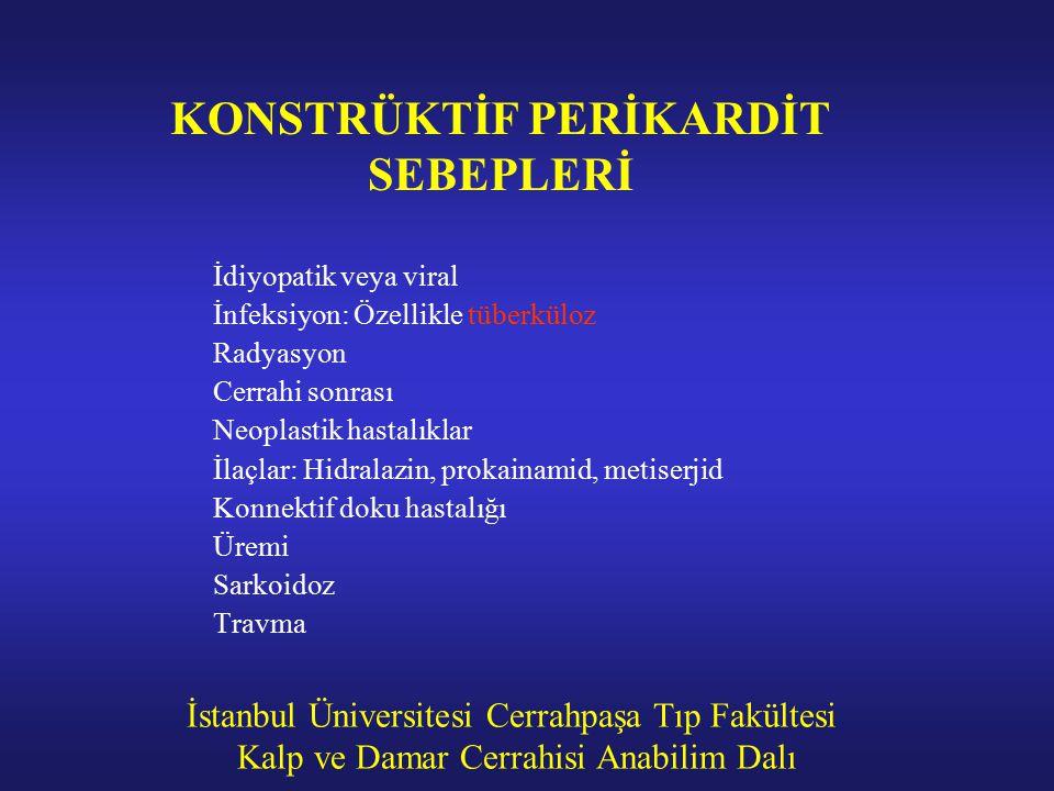 İstanbul Üniversitesi Cerrahpaşa Tıp Fakültesi Kalp ve Damar Cerrahisi Anabilim Dalı KONSTRÜKTİF PERİKARDİT SEBEPLERİ İdiyopatik veya viral İnfeksiyon