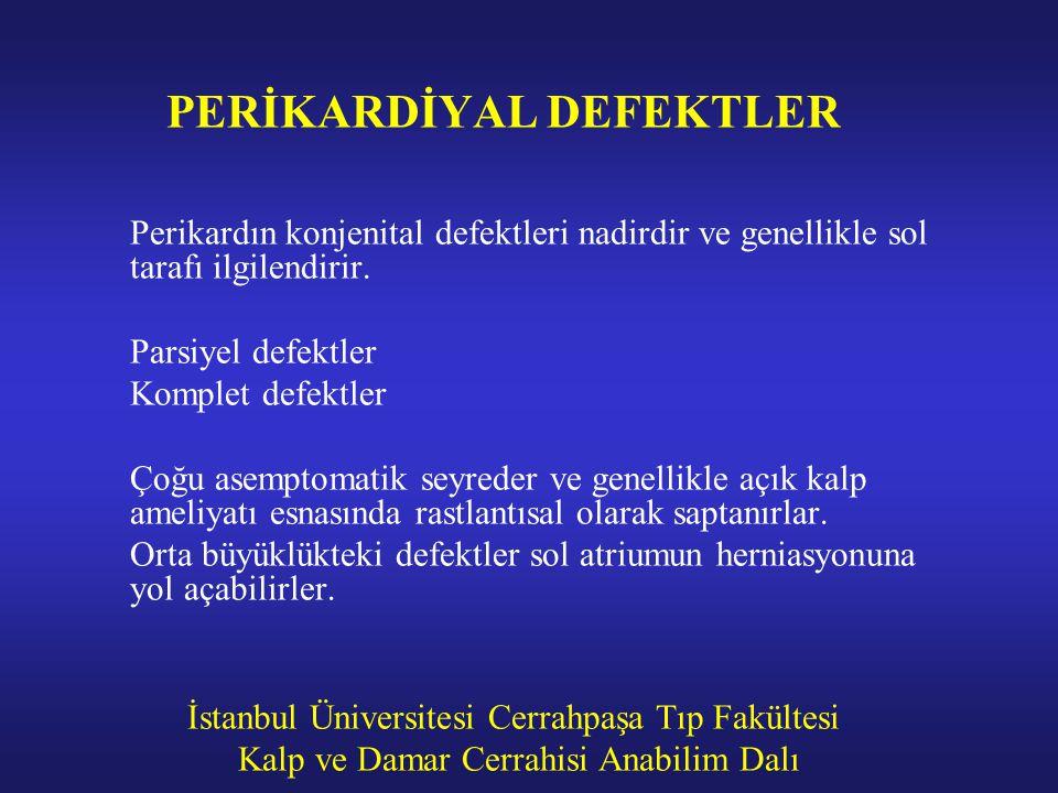 İstanbul Üniversitesi Cerrahpaşa Tıp Fakültesi Kalp ve Damar Cerrahisi Anabilim Dalı PERİKARDİYAL DEFEKTLER Perikardın konjenital defektleri nadirdir
