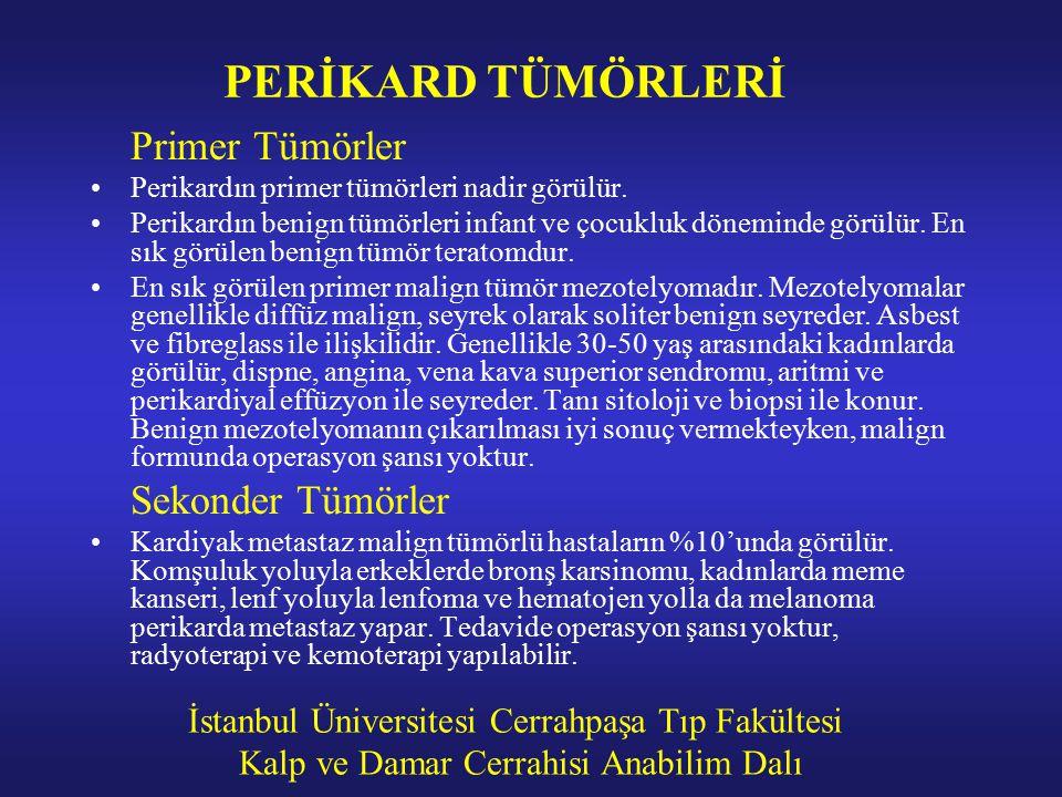 İstanbul Üniversitesi Cerrahpaşa Tıp Fakültesi Kalp ve Damar Cerrahisi Anabilim Dalı PERİKARD TÜMÖRLERİ Primer Tümörler Perikardın primer tümörleri na