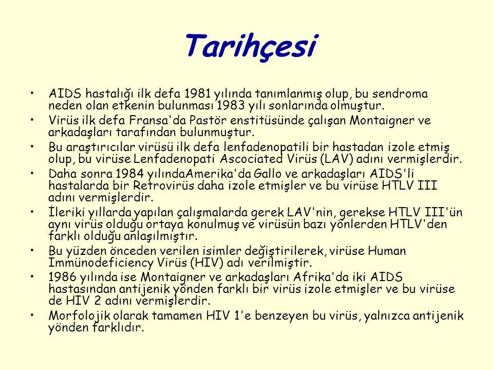 Tarihçesi AIDS hastalığı ilk defa 1981 yılında tanımlanmış olup, bu sendroma neden olan etkenin bulunması 1983 yılı sonlarında olmuştur. Virüs ilk def