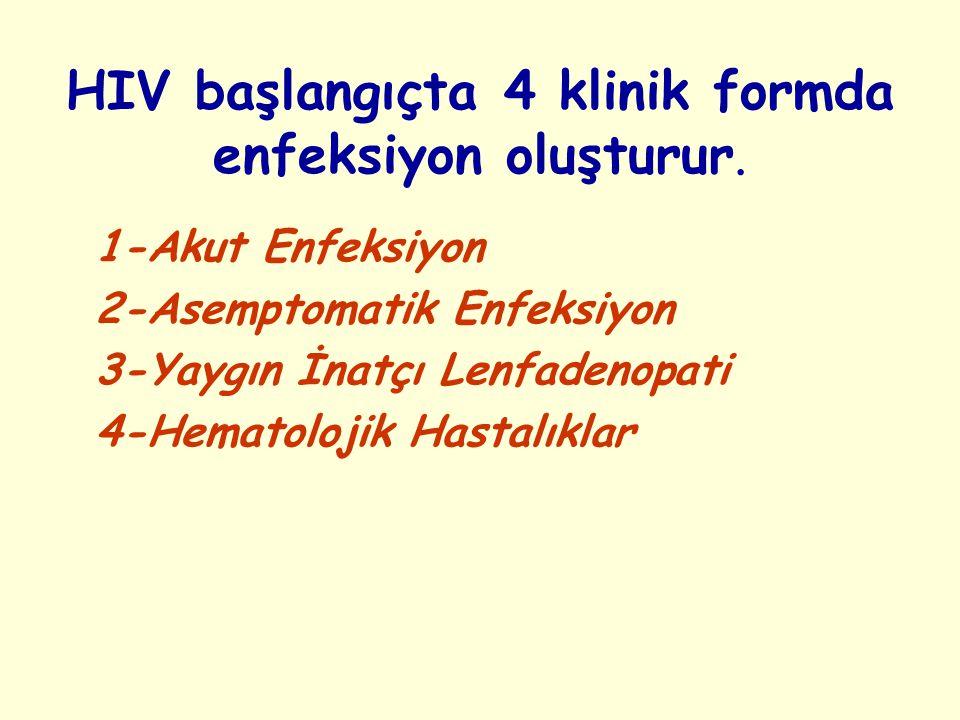 HIV başlangıçta 4 klinik formda enfeksiyon oluşturur. 1-Akut Enfeksiyon 2-Asemptomatik Enfeksiyon 3-Yaygın İnatçı Lenfadenopati 4-Hematolojik Hastalık