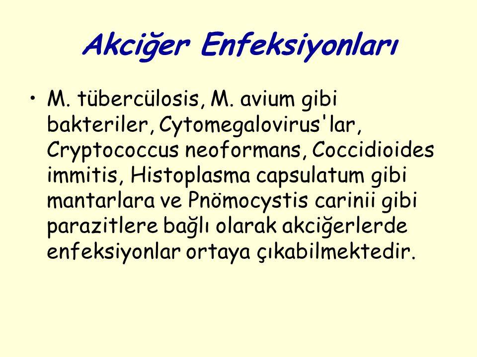 Akciğer Enfeksiyonları M. tübercülosis, M. avium gibi bakteriler, Cytomegalovirus'lar, Cryptococcus neoformans, Coccidioides immitis, Histoplasma caps