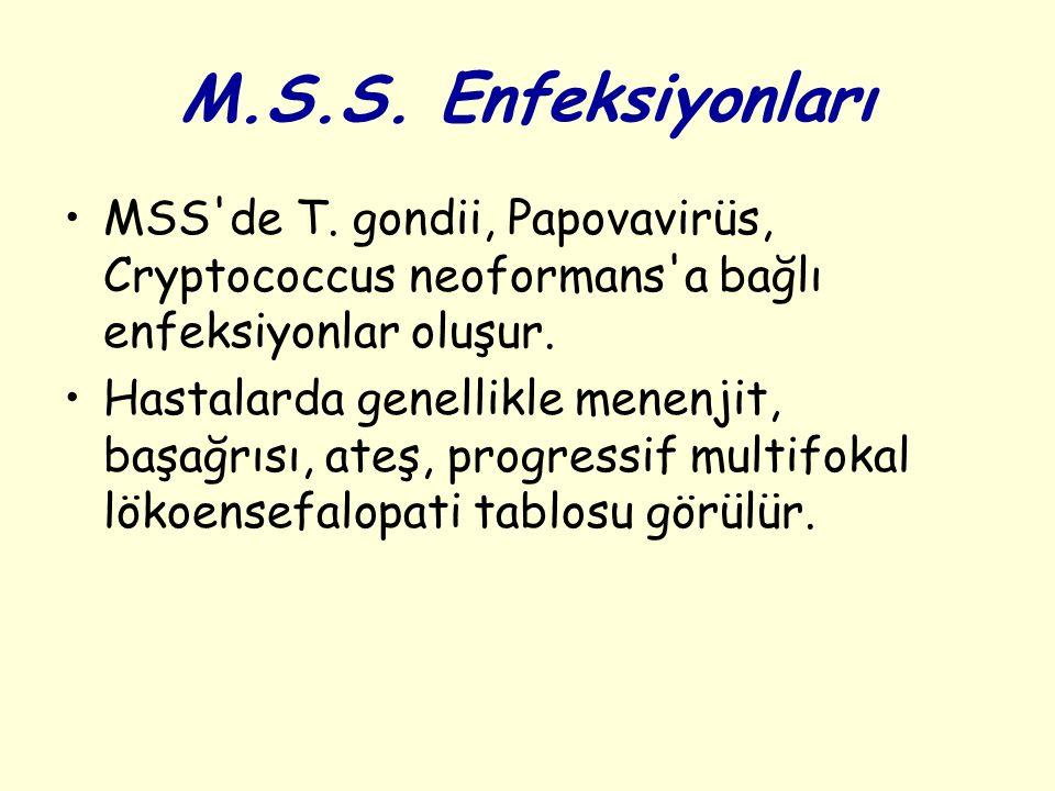 M.S.S. Enfeksiyonları MSS'de T. gondii, Papovavirüs, Cryptococcus neoformans'a bağlı enfeksiyonlar oluşur. Hastalarda genellikle menenjit, başağrısı,