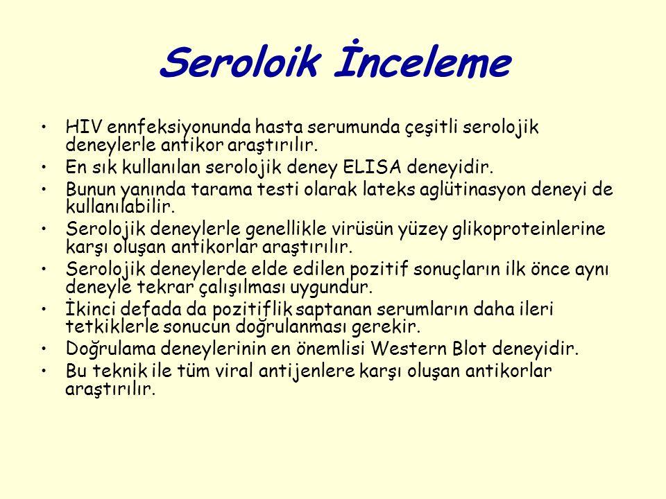Seroloik İnceleme HIV ennfeksiyonunda hasta serumunda çeşitli serolojik deneylerle antikor araştırılır. En sık kullanılan serolojik deney ELISA deneyi