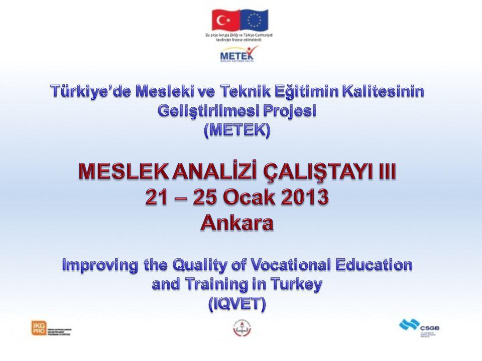 Müfredat Geliştirme Çalışma Grubu (MGÇG)'nin Oluşturulması MGÇG'nin Kazanımlara dayalı Müfredat Geliştirme Eğitimi 10 – 14 Eylül 2012, Ankara (Kazanımlara Dayalı Müfredat Geliştirme) 17 – 21 Eylül 2012, Ankara (Kazanımlara Dayalı Öğrenme Materyalleri Geliştirme) 24 – 28 Eylül 2012, Ankara (Kazanımlara Dayalı Ölçme ve Değerlendirme Araçlarının Geliştirilmesi) Taslak Öğrenme Kazanımlarına dayalı Müfredat Araçları Örnekleri Meslek Analizi Çalıştayı (1) 05 – 09 Kasım 2012, Ankara 180 katılımcı (MEB, YÖK ve Sektör temsilcileri) 20 alanda Meslek Haritası ve 20 adet Meslek Analizi (birinci taslak) Meslek Analizi Çalıştayı (2) 03 – 07 Aralık 2012, Ankara 160 katılımcı (MEB, YÖK ve Sektör temsilcileri) 28 Meslek Analizi tamamlandı.