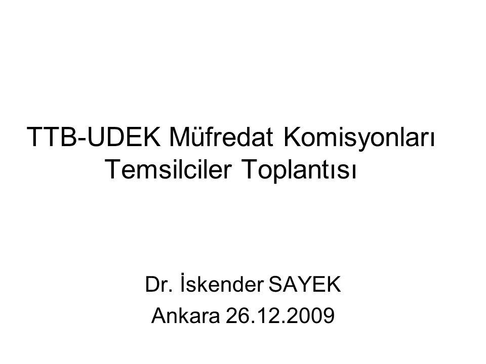 TTB-UDEK Müfredat Komisyonları Temsilciler Toplantısı Dr. İskender SAYEK Ankara 26.12.2009