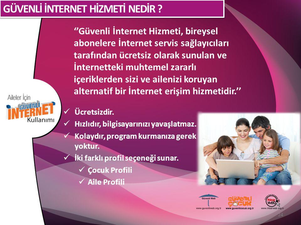 ''Güvenli İnternet Hizmeti, bireysel abonelere İnternet servis sağlayıcıları tarafından ücretsiz olarak sunulan ve İnternetteki muhtemel zararlı içeriklerden sizi ve ailenizi koruyan alternatif bir İnternet erişim hizmetidir.'' Ücretsizdir.