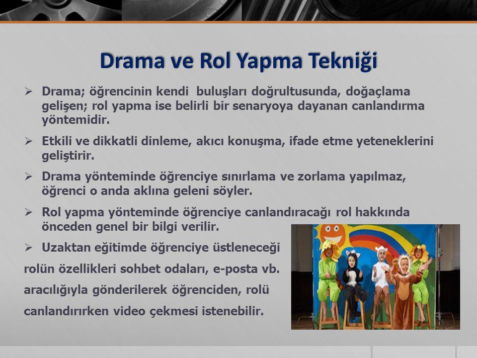 Drama ve Rol Yapma Tekniği  Drama; öğrencinin kendi buluşları doğrultusunda, doğaçlama gelişen; rol yapma ise belirli bir senaryoya dayanan canlandır