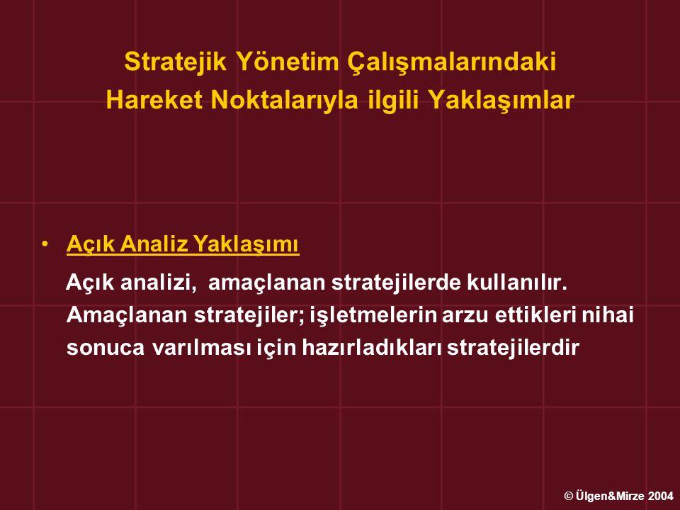 Stratejik Yönetim Çalışmalarındaki Hareket Noktalarıyla ilgili Yaklaşımlar Açık Analiz Yaklaşımı Açık analizi, amaçlanan stratejilerde kullanılır. Ama