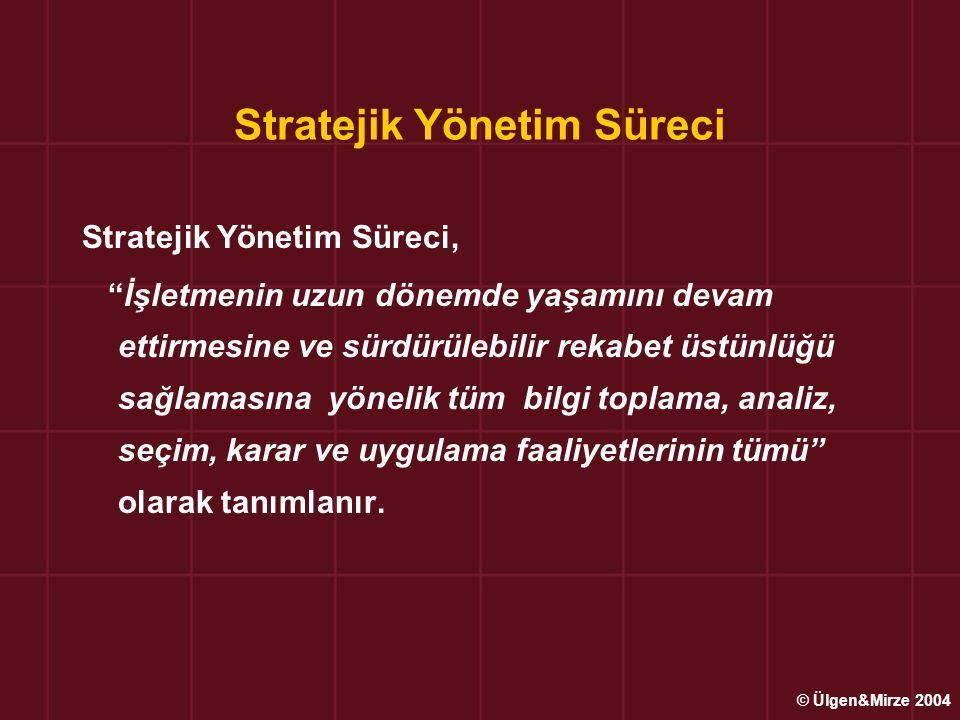 Strateji Oluşturma Evresi Yönetim Düzeylerine göre Stratejiler Üst Düzey (Kurumsal) Stratejiler; Kurumsal/Çeşitlendirme Stratejileri ve Çekilme Stratejileri Üst ve Orta Düzey Stratejiler; İş Yönetim/Rekabet Stratejileri; Maliyet Liderliği, Farklılaştırma ve odaklanma stratejileri Alt Düzey Stratejiler; İşlevsel (Bölümsel) Stratejiler © Ülgen&Mirze 2004