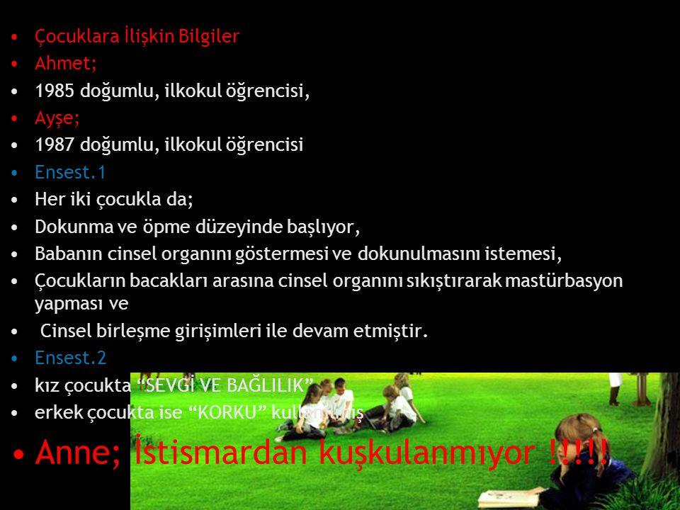Çocuklara İlişkin Bilgiler Ahmet; 1985 doğumlu, ilkokul öğrencisi, Ayşe; 1987 doğumlu, ilkokul öğrencisi Ensest.1 Her iki çocukla da; Dokunma ve öpme
