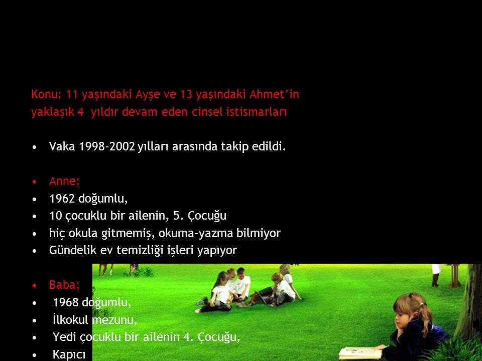 Konu: 11 yaşındaki Ayşe ve 13 yaşındaki Ahmet'in yaklaşık 4 yıldır devam eden cinsel istismarları Vaka 1998-2002 yılları arasında takip edildi. Anne;