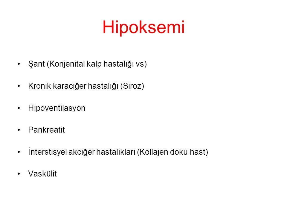 Hipoksemi Şant (Konjenital kalp hastalığı vs) Kronik karaciğer hastalığı (Siroz) Hipoventilasyon Pankreatit İnterstisyel akciğer hastalıkları (Kollajen doku hast) Vaskülit