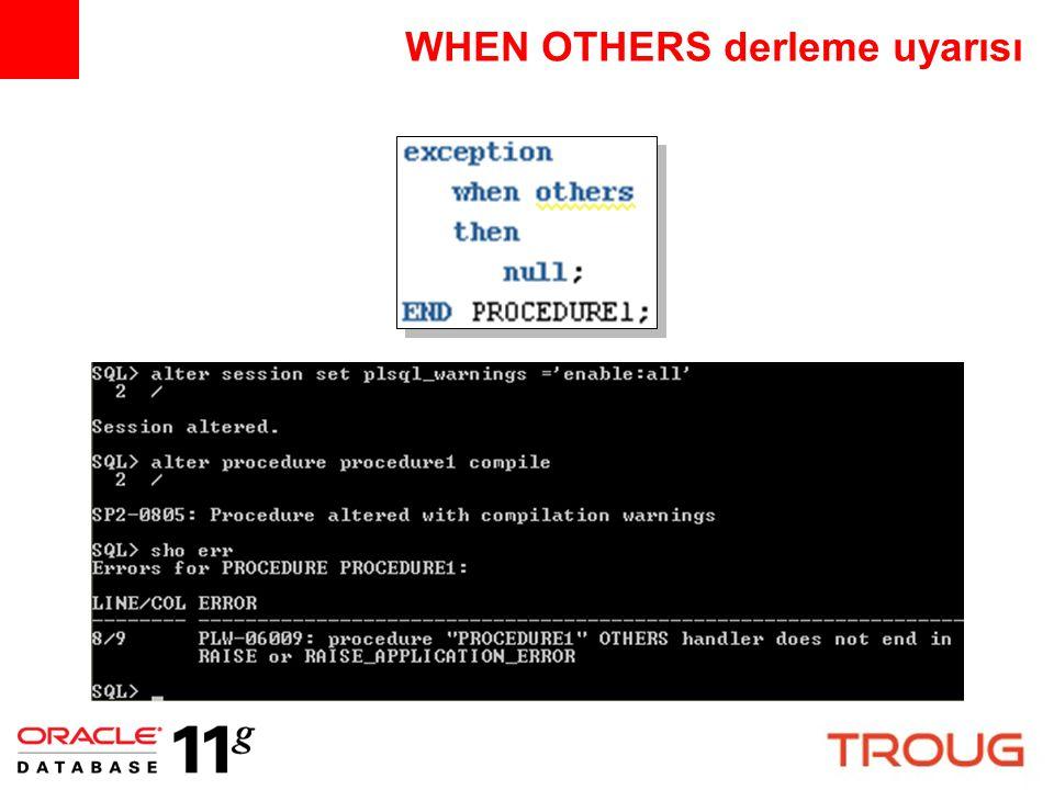declare cnt simple_integer := 0; begin cnt := cnt + 1; end; SIMPLE_INTEGER PLS_INTEGER tipinden daha etkin NOT NULL constraint nedeni ile ön değer atanmalı declare cnt $if dbms_db_version.ver_le_10_2 $then pls_integer not null $else simple_integer $end := 0; begin cnt := cnt + 1; end;