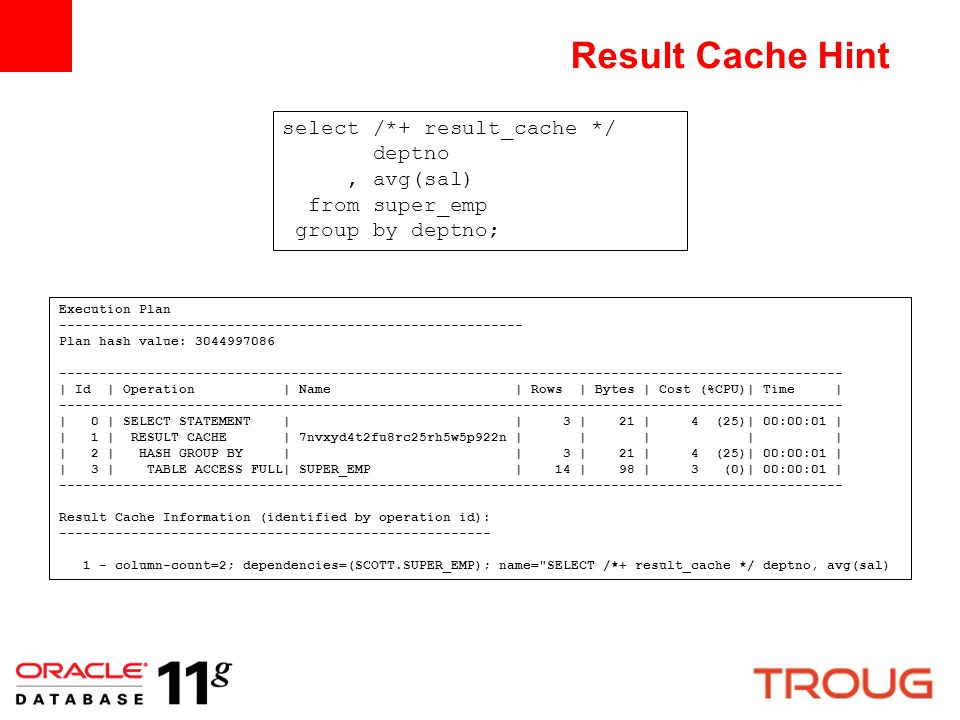 Result Cache Hint select /*+ result_cache */ deptno, avg(sal) from super_emp group by deptno; Execution Plan -----------------------------------------