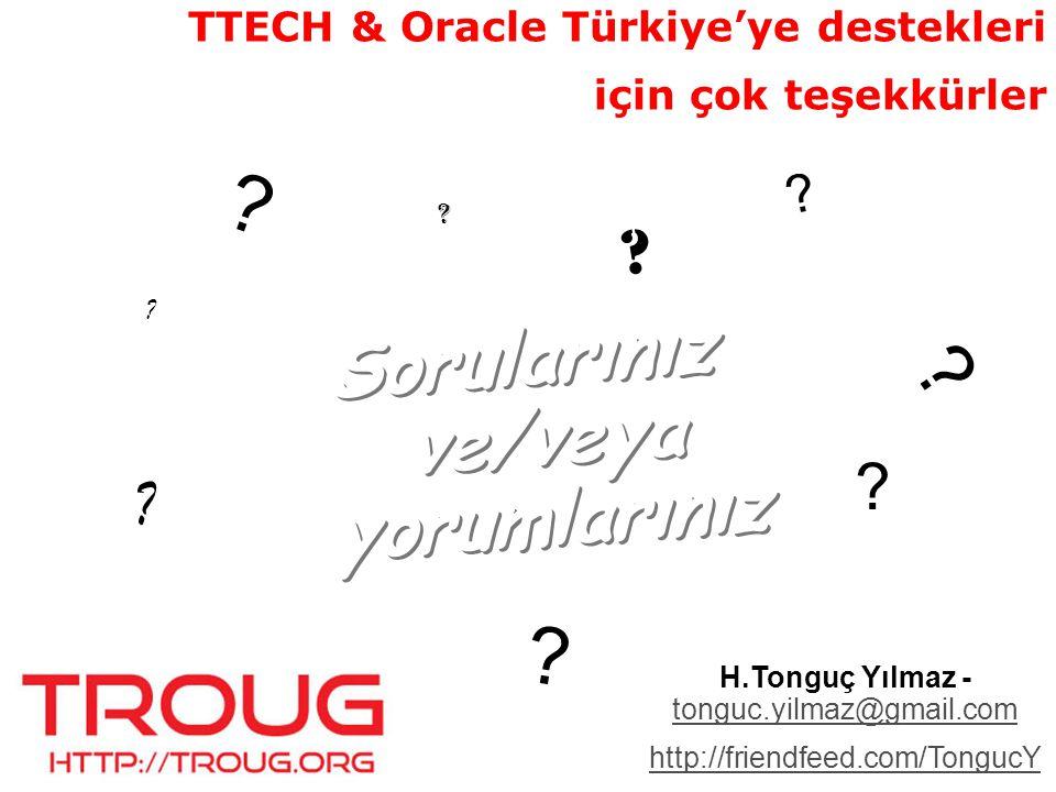 TROUG @ Oracle Day TROUG Stand DBA ler için Oracle veritabanı 11g yeni özellikleri: Zekeriya Beşiroğlu, Bilginç Akademi Veritabanı geliştiricileri için Oracle veritabanı 11g yeni özellikleri: H.Tonguç Yılmaz, ACE, Turkcell Teknoloji Veri ambarı ve Exadata Oracle veritabanı 11g yeni özellikleri: Hüsnü Şensoy, ACE Director, Global Maksimum Panel: TROUG Roundtable
