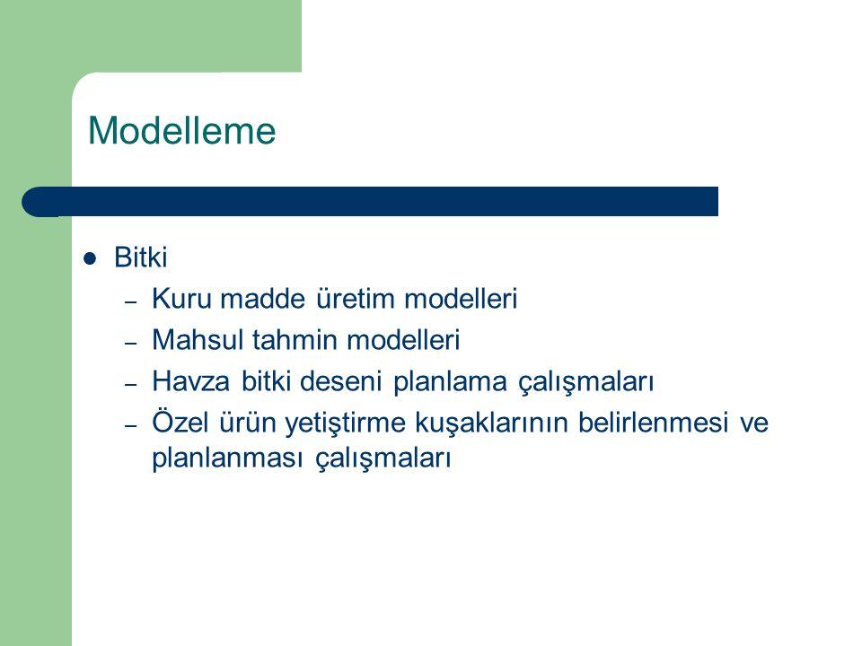 Bitki – Kuru madde üretim modelleri – Mahsul tahmin modelleri – Havza bitki deseni planlama çalışmaları – Özel ürün yetiştirme kuşaklarının belirlenmesi ve planlanması çalışmaları Modelleme