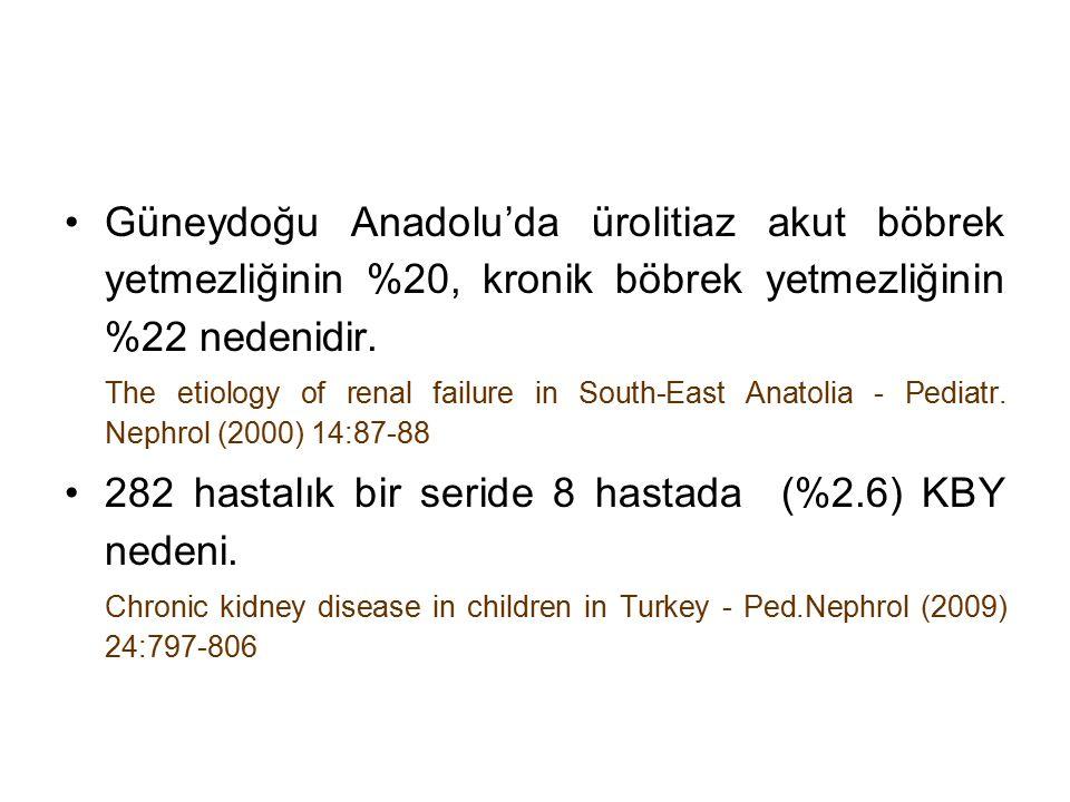 Güneydoğu Anadolu'da ürolitiaz akut böbrek yetmezliğinin %20, kronik böbrek yetmezliğinin %22 nedenidir. The etiology of renal failure in South-East A