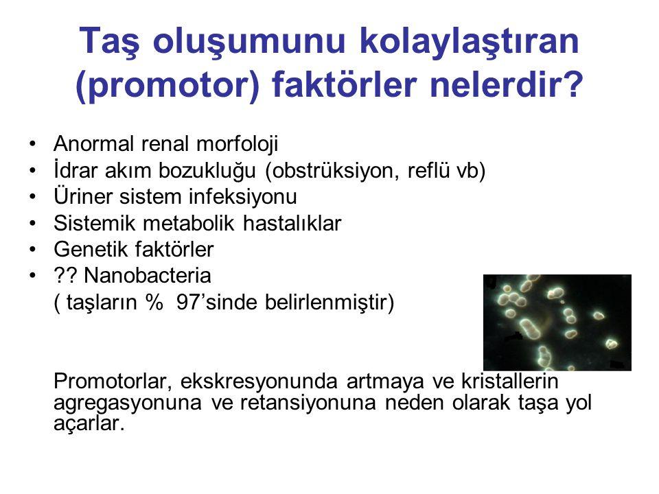 Taş oluşumunu kolaylaştıran (promotor) faktörler nelerdir? Anormal renal morfoloji İdrar akım bozukluğu (obstrüksiyon, reflü vb) Üriner sistem infeksi