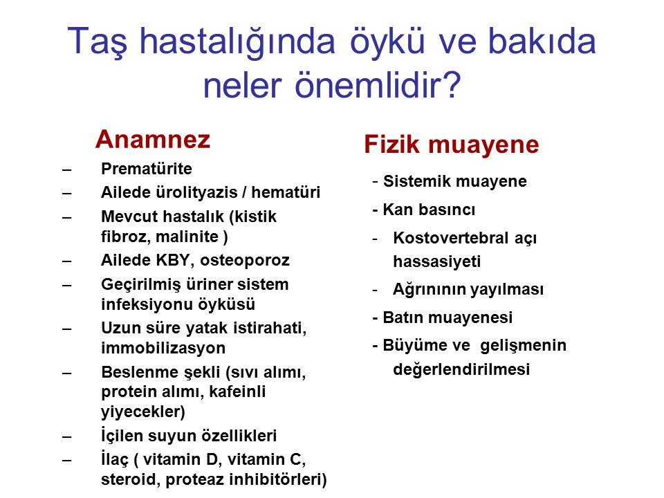Taş hastalığında öykü ve bakıda neler önemlidir? Anamnez –Prematürite –Ailede ürolityazis / hematüri –Mevcut hastalık (kistik fibroz, malinite ) –Aile