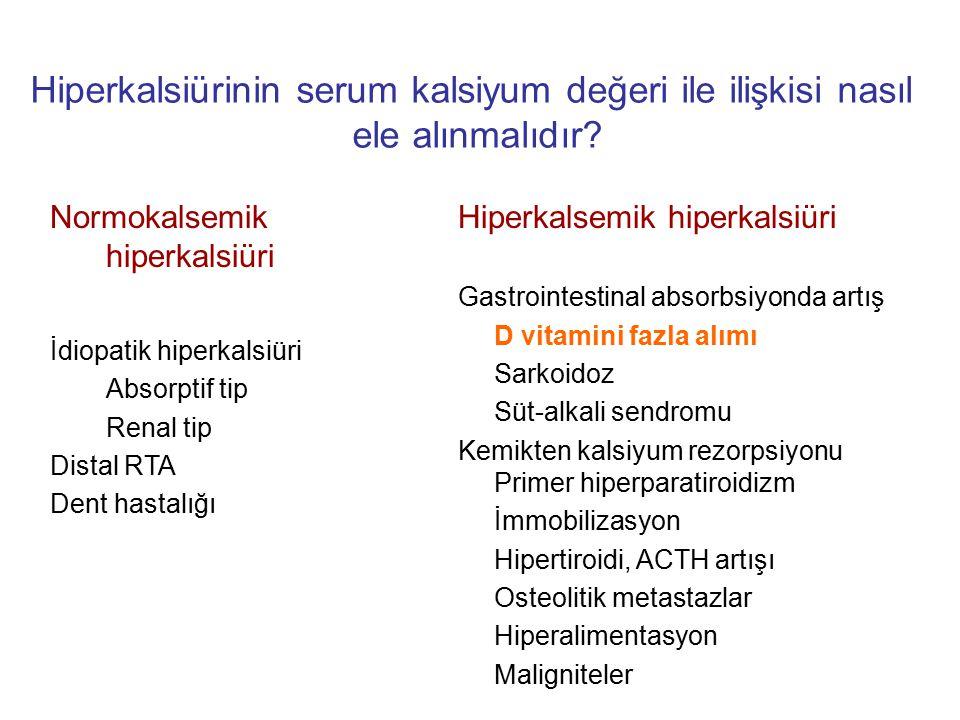 Normokalsemik hiperkalsiüri İdiopatik hiperkalsiüri Absorptif tip Renal tip Distal RTA Dent hastalığı Hiperkalsemik hiperkalsiüri Gastrointestinal abs