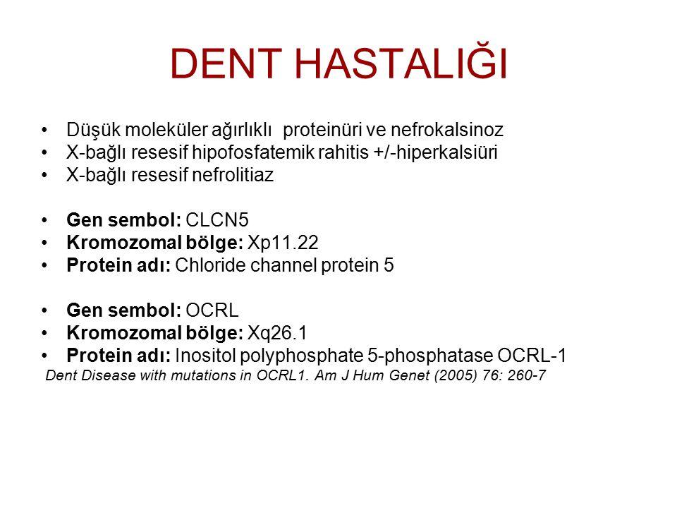 DENT HASTALIĞI Düşük moleküler ağırlıklı proteinüri ve nefrokalsinoz X-bağlı resesif hipofosfatemik rahitis +/-hiperkalsiüri X-bağlı resesif nefroliti