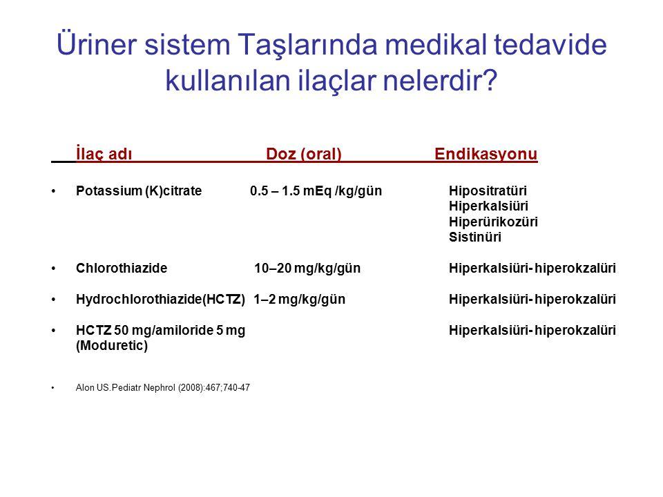 Üriner sistem Taşlarında medikal tedavide kullanılan ilaçlar nelerdir? İlaç adı Doz (oral) Endikasyonu Potassium (K)citrate 0.5 – 1.5 mEq /kg/gün Hipo