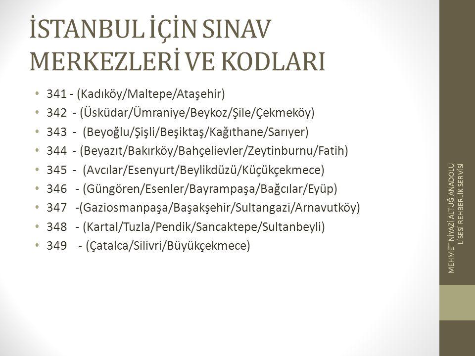 İSTANBUL İÇİN SINAV MERKEZLERİ VE KODLARI 341 - (Kadıköy/Maltepe/Ataşehir) 342 - (Üsküdar/Ümraniye/Beykoz/Şile/Çekmeköy) 343 - (Beyoğlu/Şişli/Beşiktaş/Kağıthane/Sarıyer) 344 - (Beyazıt/Bakırköy/Bahçelievler/Zeytinburnu/Fatih) 345 - (Avcılar/Esenyurt/Beylikdüzü/Küçükçekmece) 346 - (Güngören/Esenler/Bayrampaşa/Bağcılar/Eyüp) 347 -(Gaziosmanpaşa/Başakşehir/Sultangazi/Arnavutköy) 348 - (Kartal/Tuzla/Pendik/Sancaktepe/Sultanbeyli) 349 - (Çatalca/Silivri/Büyükçekmece) MEHMET NİYAZİ ALTUĞ ANADOLU LİSESİ REHBERLİK SERVİSİ