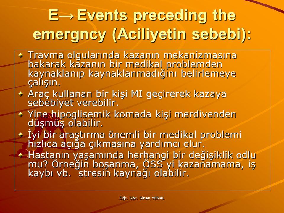Öğr. Gör. Sinan YENAL E→Events preceding the emergncy (Aciliyetin sebebi): Travma olgularında kazanın mekanizmasına bakarak kazanın bir medikal proble