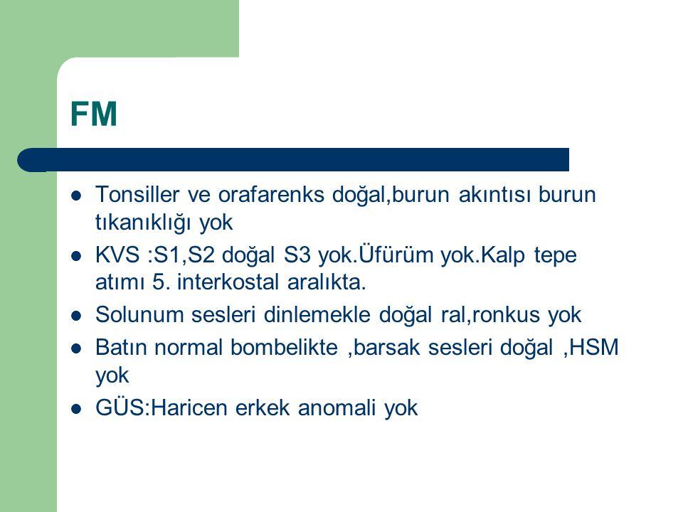 FM Tonsiller ve orafarenks doğal,burun akıntısı burun tıkanıklığı yok KVS :S1,S2 doğal S3 yok.Üfürüm yok.Kalp tepe atımı 5. interkostal aralıkta. Solu