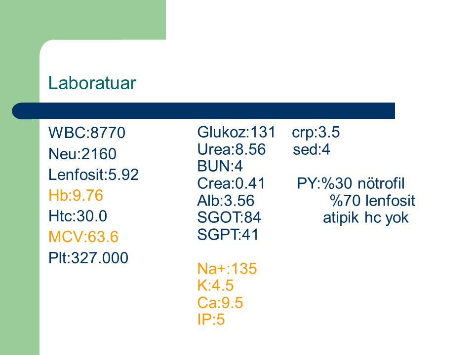 Laboratuar WBC:8770 Neu:2160 Lenfosit:5.92 Hb:9.76 Htc:30.0 MCV:63.6 Plt:327.000 Glukoz:131crp:3.5 Urea:8.56 sed:4 BUN:4 Crea:0.41 PY:%30 nötrofil Alb