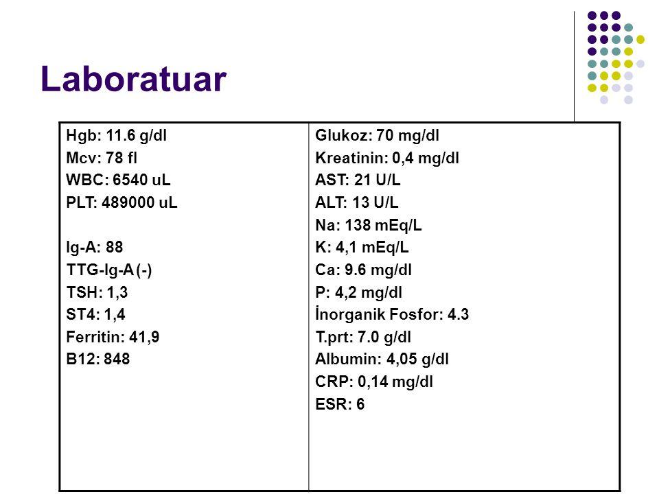 Laboratuar Hgb: 11.6 g/dl Mcv: 78 fl WBC: 6540 uL PLT: 489000 uL Ig-A: 88 TTG-Ig-A (-) TSH: 1,3 ST4: 1,4 Ferritin: 41,9 B12: 848 Glukoz: 70 mg/dl Kreatinin: 0,4 mg/dl AST: 21 U/L ALT: 13 U/L Na: 138 mEq/L K: 4,1 mEq/L Ca: 9.6 mg/dl P: 4,2 mg/dl İnorganik Fosfor: 4.3 T.prt: 7.0 g/dl Albumin: 4,05 g/dl CRP: 0,14 mg/dl ESR: 6