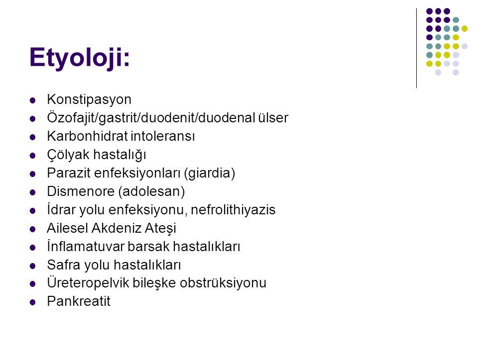 Etyoloji: Konstipasyon Özofajit/gastrit/duodenit/duodenal ülser Karbonhidrat intoleransı Çölyak hastalığı Parazit enfeksiyonları (giardia) Dismenore (