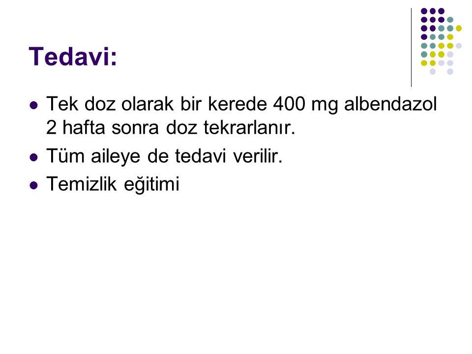 Tedavi: Tek doz olarak bir kerede 400 mg albendazol 2 hafta sonra doz tekrarlanır.