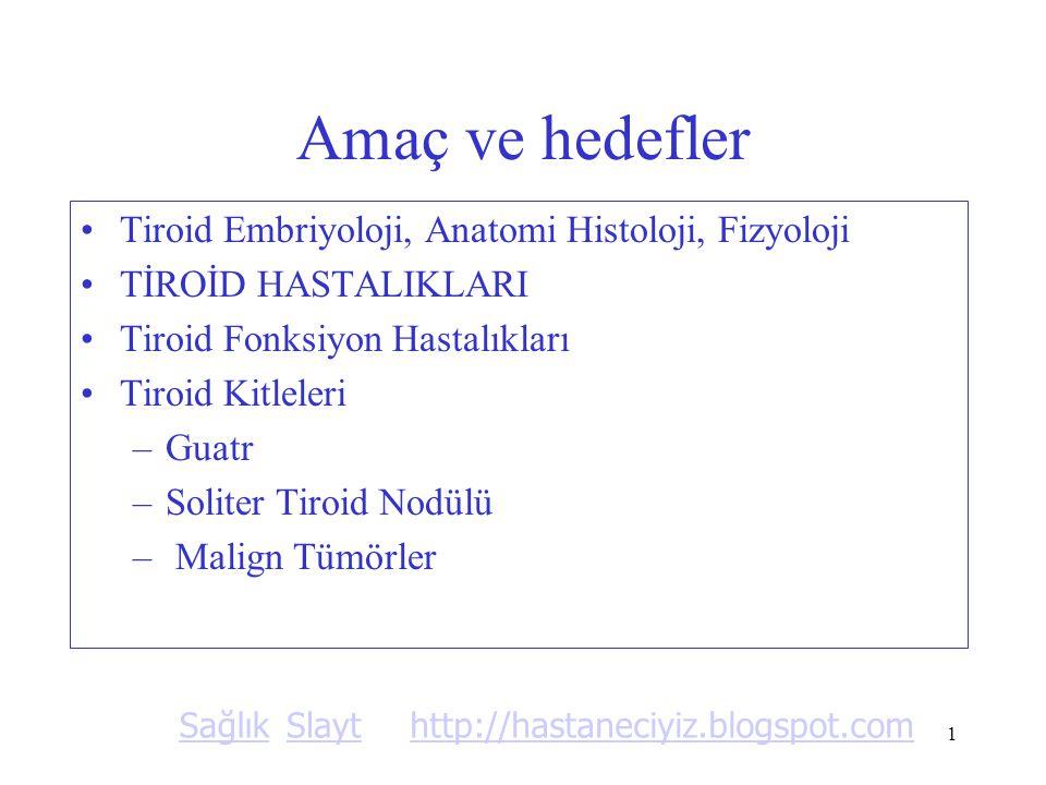 1 Amaç ve hedefler Tiroid Embriyoloji, Anatomi Histoloji, Fizyoloji TİROİD HASTALIKLARI Tiroid Fonksiyon Hastalıkları Tiroid Kitleleri –Guatr –Soliter