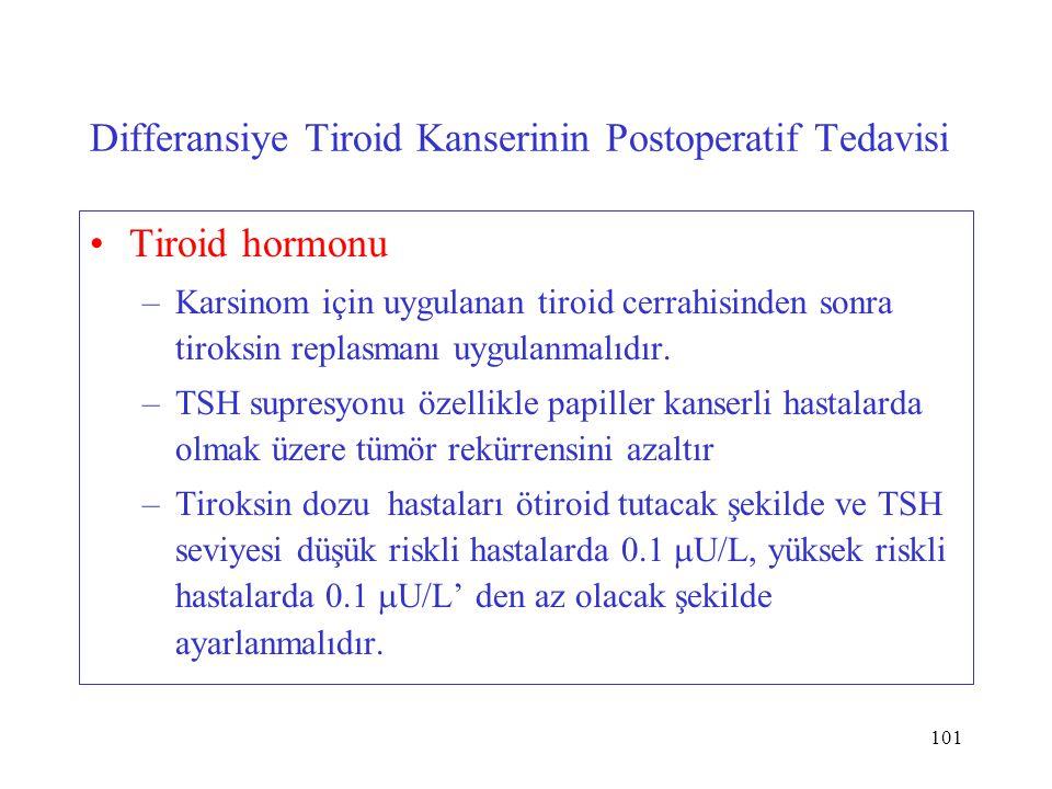 101 Differansiye Tiroid Kanserinin Postoperatif Tedavisi Tiroid hormonu –Karsinom için uygulanan tiroid cerrahisinden sonra tiroksin replasmanı uygulanmalıdır.