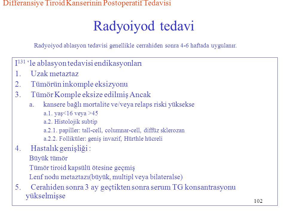 102 Radyoiyod tedavi I 131 'le ablasyon tedavisi endikasyonları 1. Uzak metaztaz 2. Tümörün inkomple eksizyonu 3. Tümör Komple eksize edilmiş Ancak a.