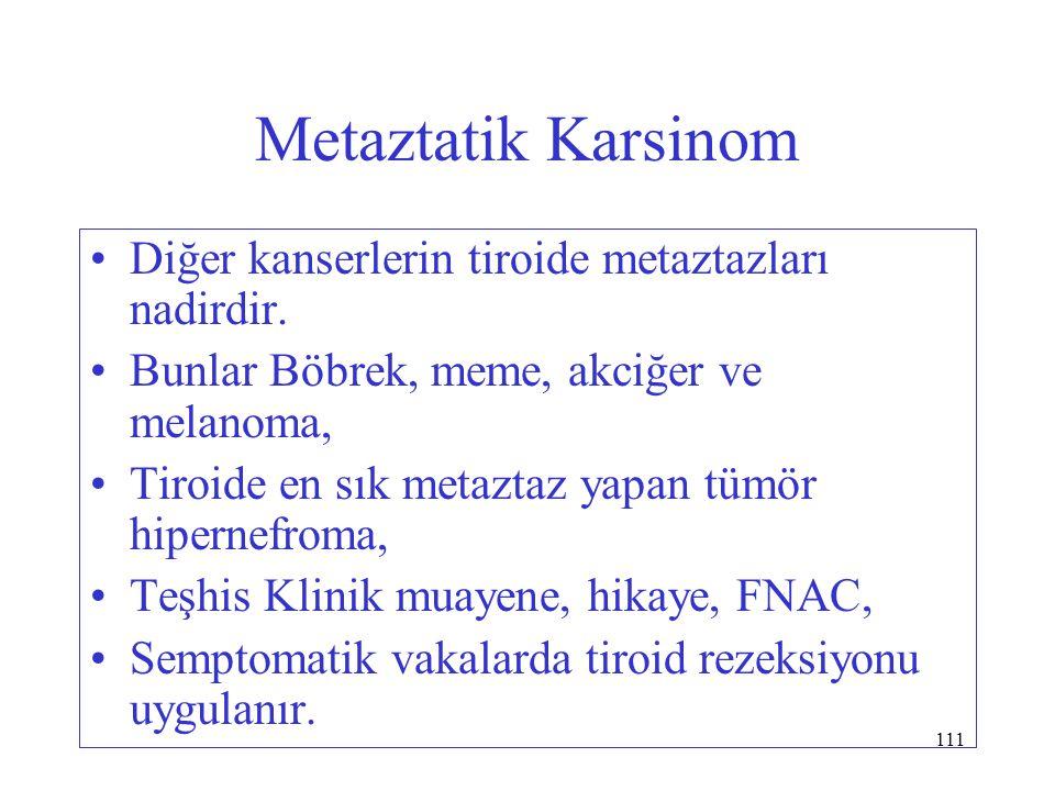 111 Metaztatik Karsinom Diğer kanserlerin tiroide metaztazları nadirdir. Bunlar Böbrek, meme, akciğer ve melanoma, Tiroide en sık metaztaz yapan tümör