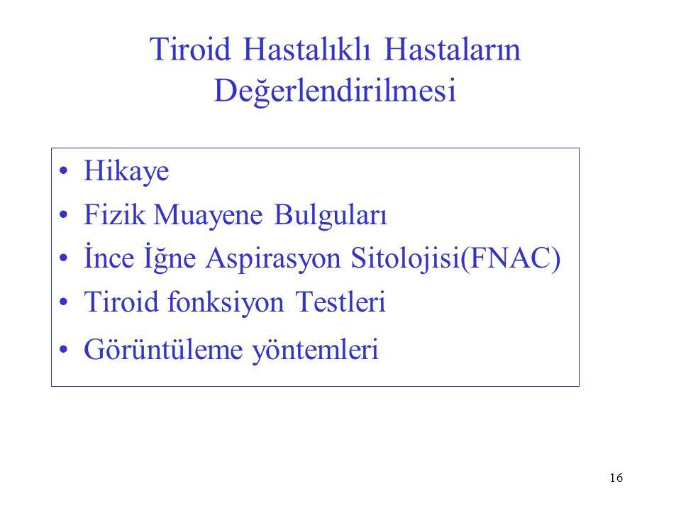 16 Tiroid Hastalıklı Hastaların Değerlendirilmesi Hikaye Fizik Muayene Bulguları İnce İğne Aspirasyon Sitolojisi(FNAC) Tiroid fonksiyon Testleri Görüntüleme yöntemleri